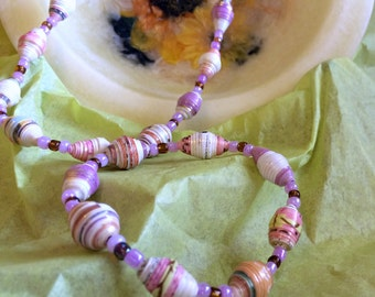 Pink and Purple Paper Bead Necklace and Bracelet Set Clasp Free Lightweight OOAK Boho Chic First Paper Anniversary Gifts for Mom Sister Aunt