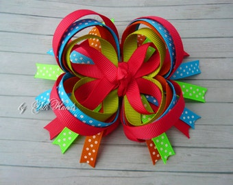 Boutique Hair Bow - pink, orange, blue