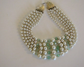 Vintage Multistrand Pearl and Mint Necklace / Choker