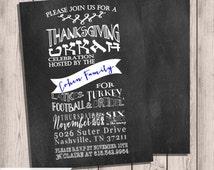 Hanukkah Invitation, Thanksgiving and Hanukkah, Hanukkah Party, Chalkboard Invitation, Double-sided, 5x7, Custom Invite