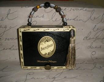 Black Brick House Cigar box Purse, New, Authentic, Tampa, Handmade, Zebra Lined  #641