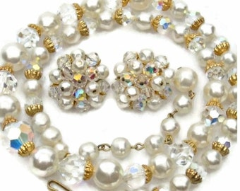 Baroque Pearl and Crystals Set Necklace and Earrings