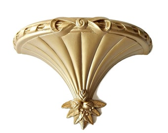 Syroco Sconce Wall Shelf Gold Tone Bed Crown