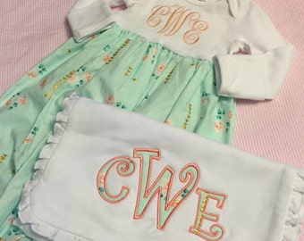 Baby Gown Monogrammed Matching Appliqued Burp cloth Cute Mint Pink Gold Fabric