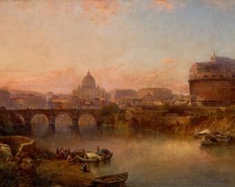 "George Loring Brown : ""Sunset on the Tiber, Rome"" (c1880) - Giclee Fine Art Print"