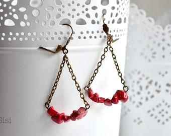 Earrings red beads on string