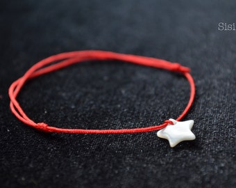 Cord Bracelet red pearly silk star