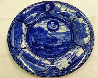Rowland & Marcellus Staffordshire blue transferware plate