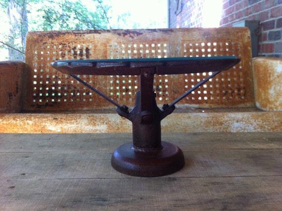 Vintage Industrial Pedestal Metal Cake Stand By Snodoniron