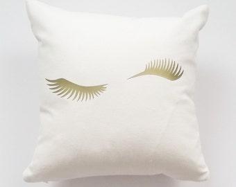 Decorative Pillows, Throw Pillow, Home Decor, Custom Monogram Accent Pillow Cover, Farmhouse Wedding Winky Eyelashes