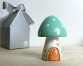 Teeny Tiny Wooden Fairy House - Mint green White stem Toadstool / Mushroom