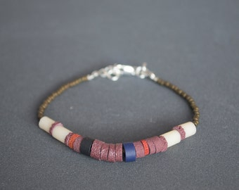 Friendship bracelet Glass bracelet Polymer clay bracelet Thin bracelet Beaded Silver bracelet Dainty Brown pastel yellow Bronze tone Boho