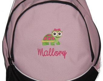 FREE SHIPPING - Turtle Daisy   Personalized Monogrammed Backpack Book Bag school tote  - NEW