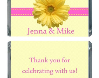 90 Yellow Daisy Personalized Wedding Candy Labels