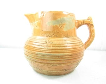 Vintage pitcher,farmhouse decor, kitchen, serving ,jug, old world style,vase, Pottery Water Pitcher, Vintage Pottery, Orange Pitcher, Decor