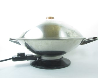 Vintage Kitchen, Wok,stainless Steel,electric Appliance,fry Pan,stir Fry