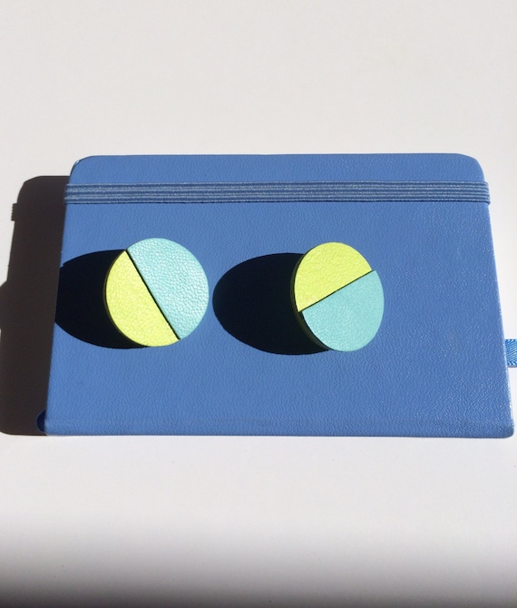 Leather yellow and blue geometric colorblock stud earrings