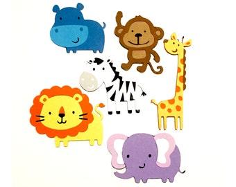 Set of 6 Jungle Animal Die Cuts / Safari Animal Die Cut Jungle Animals Paper Jungle Scrapbook Animals Paper Die Cut Paper Monkey Die Cut