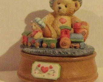 Cherished Teddies-Music Box-Santa Is Coming.....