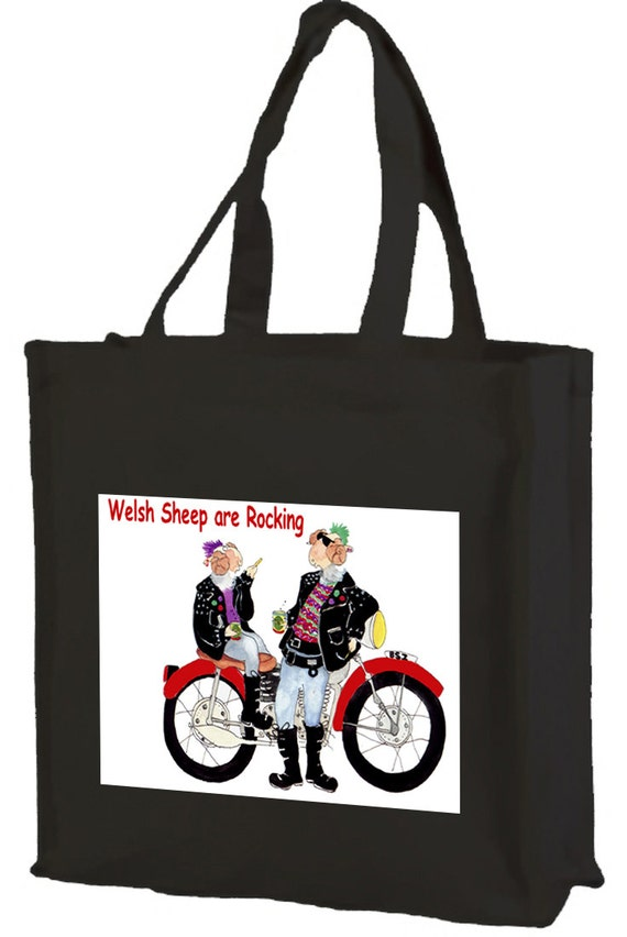 Biker  Sheep Welsh Dragon Cotton Shopping Bag with gusset and long handles, 3 colour options
