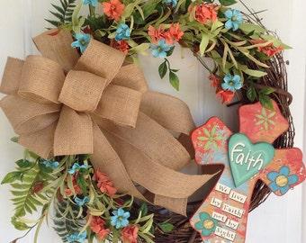 Cross wreath, Summer wreath, Grapevine wreath, Spring wreath, Home decor for door