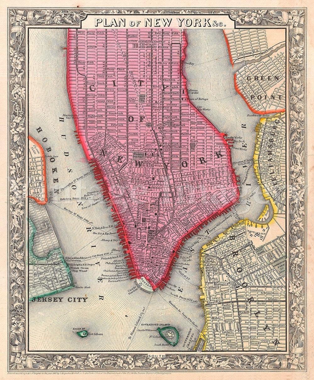 Old Map Of New York City  Antique Restoration Hardware Style - New york map restoration hardware