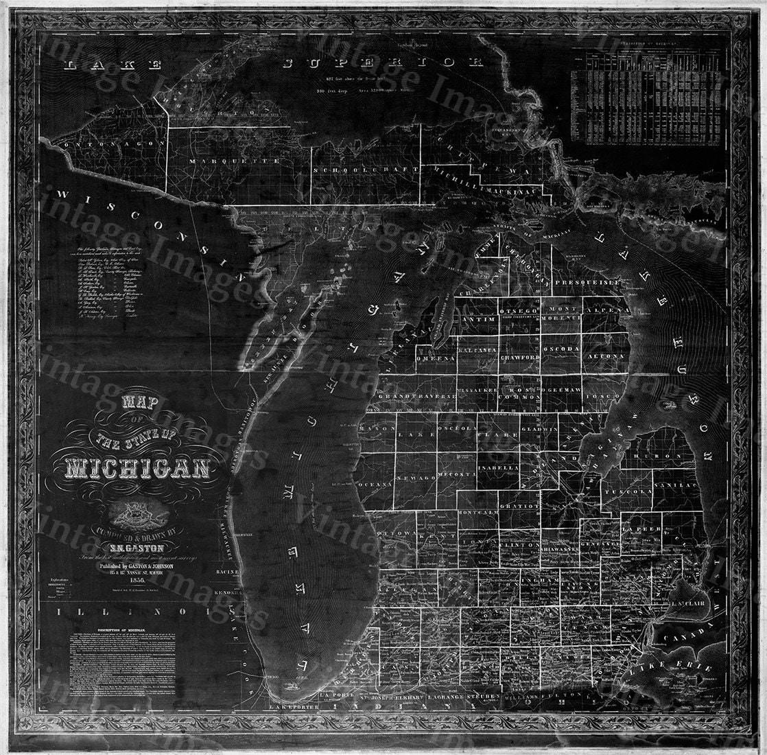 Old Michigan Map Vintage  Map Of Michigan Old Antique - New york map restoration hardware