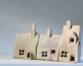 Ceramics and pottery, 3 little clay houses, shelf village, English souvenir House warming present. UK sellers only. UK shops. British