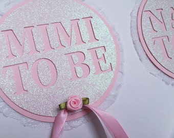 Mom to Be Pin ; Pink and Lace Baby Shower ; Grandma to Be Pinback Button