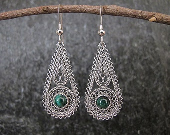 Silver Filigree earrings,Silver earrings, Filigree earrings, Malachite earrings, Israel jewelry, Ethnic earrings,Malachite silver earrings