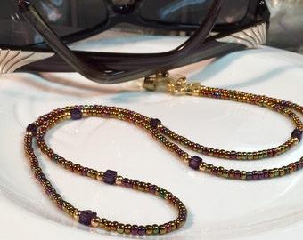 Beaded Glasses Chain, Gold Eyeglass Necklace, Eyewear, Glasses Necklace, Sunglasses Leash, Women's Eyeglass chain