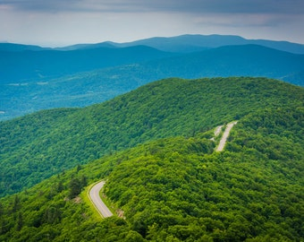View of the Blue Ridge Mountains, in Shenandoah National Park, Virginia - Landscape Photography Fine Art Print or Wrapped Canvas