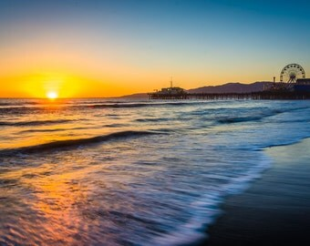 Sunset over the Pacific Ocean and Santa Monica Pier, in Santa Monica, California - Photography Fine Art Print or Wrapped Canvas