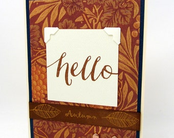 Hello Card - Rustic Style Card - Rich Earth Tones - Any Occasion - Blank Card - Autumn Colors - Copper Accents - Striking Design