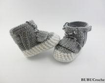 Baby shoes, Crochet baby shoes, Crochet baby sneakers, gray sneakers,Yeezy 750 Boost, crochet baby booties,  gray baby booties,sport