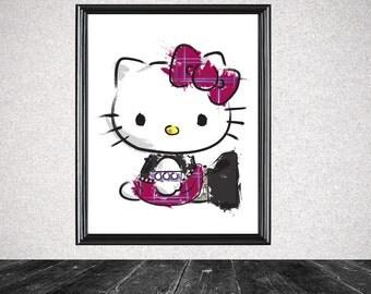 Punk Hello Kitty Splatter Print