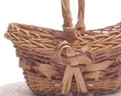sweet wicker basket romantic Valentine's day gift basket, Mother's day Easter gift; farm country storage yesteryears