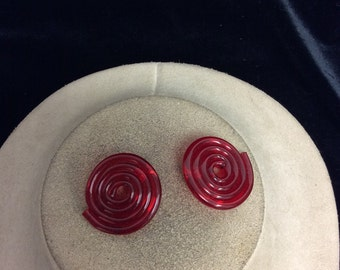 Vintage Red Swirl Earrings