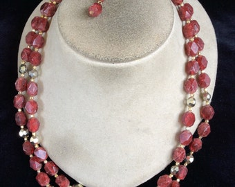 Vintage Signed Hong Kong Double Stranded Burgandy Beaded Necklace