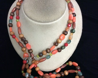 Vintage Long Colorful Bead Necklace