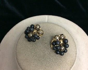 Vintage Goldtone & Black Beaded Earrings