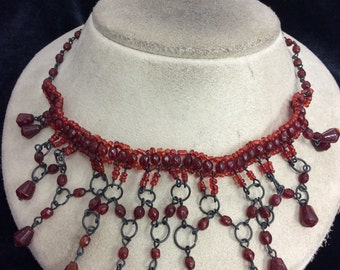 Vintage Burgandy & Deep Red Glass Beaded Necklace