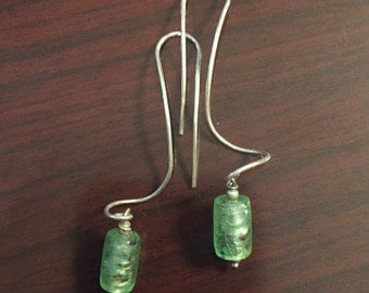 30% DISCOUNT SALE Long Handmade Sterling Silver Green Glass Cylinder Earrings (#2)