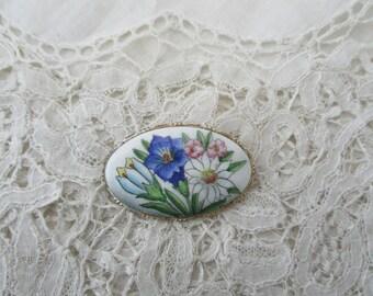 1930's enamel brooch alpine flowers