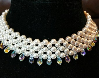 Bridal Pearl and Crystal Drop Necklace