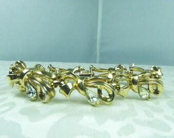 Crown Trifari Bracelet / Gold Tone With Pear Cut Clear Rhinestones