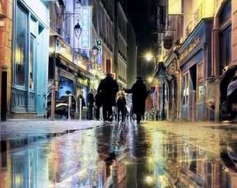Paris Photography, Latin Quarter, Night in Paris, blue yellow, Urban Paris, Rain in Paris. Yellow Paris Reflections, Blue Paris Reflections
