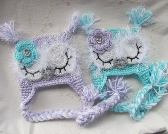 Newborn Twin Owl Hats ( Infant Owl Hats)  MADE TO ORDER, Purple Baby Owl Hat, Teal Baby Owl Hat, Baby Gift, Handmade Baby Hats, Crochet Hat