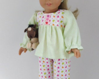 Pajamas for 18 inch girl dolls, three piece flannel PJs set, American Made lounge pants, Sweetheart doll clothes, sleepover accessories