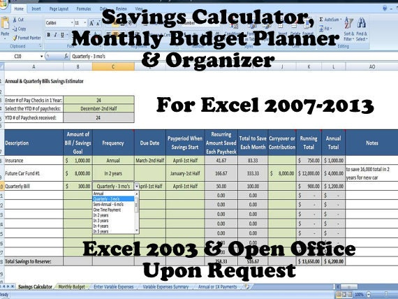 savings calculator monthly budget planner and organizer for